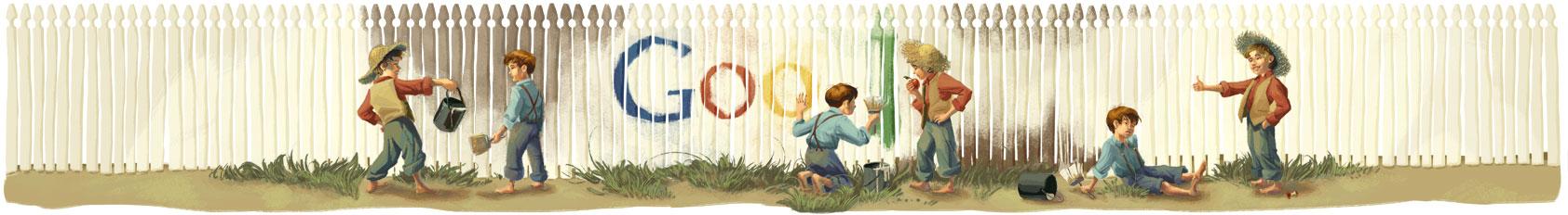 Google Logo Nhà Văn Mark Twain sinh nhật thú 176 của Mark Twain