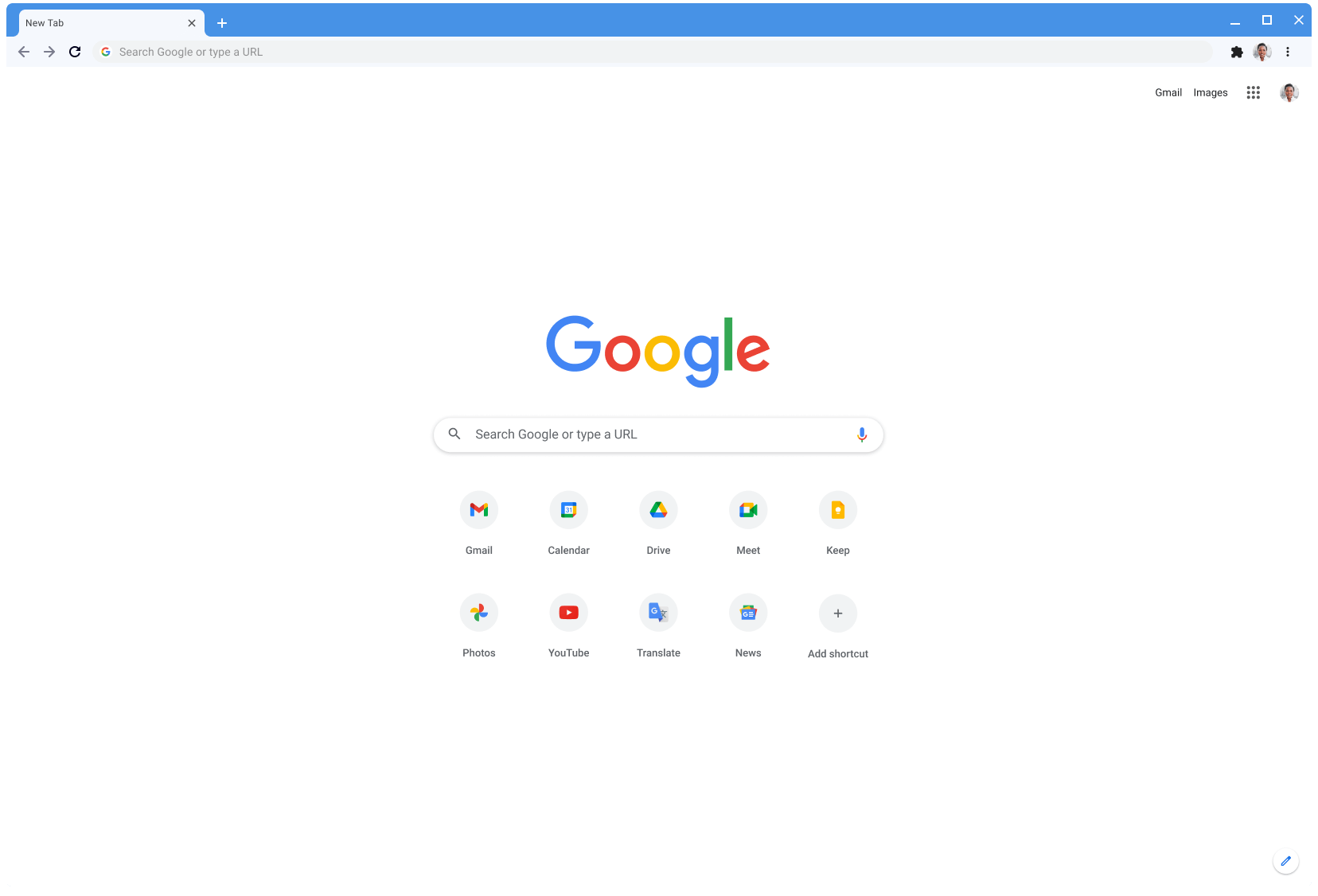 Chrome browser window displaying Google.com, using the Classic theme.