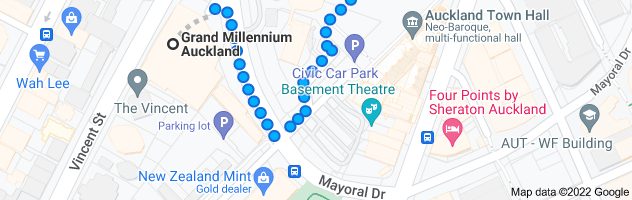 Map from Grand Millennium Auckland, 71 Mayoral Dr, Auckland, 1010 to 396 Queen St, Auckland, 1010